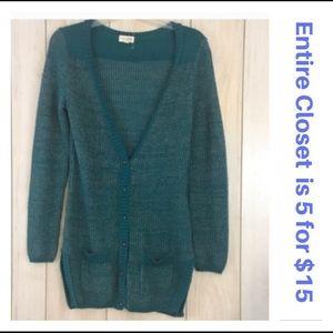 Maison Jules Turquoise Blue Tunic Cardigan Sweater